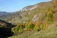 Mountain autumn landscape. With colorful forest Stock Photo