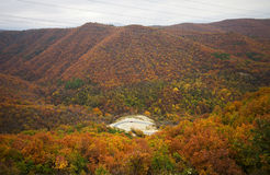 Mountain autumn landscape. With colorful forest and roadway Stock Photos