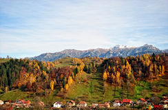The mountain autumn landscape with colorful forest. Mountain autumn landscape with colorful forest, rural village Stock Image