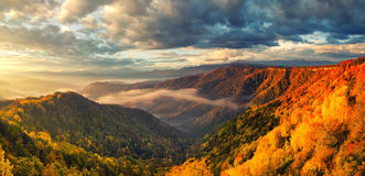 The mountain autumn sunrise landscape with colorful forest. Russia, Lago Naki. Stock Images