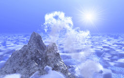Mountain on background cloud. Scene mountain on background cloud Royalty Free Stock Photography