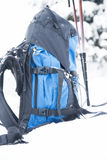 Mountain Backpack with Trekking Sticks Royalty Free Stock Photography