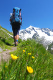Mountain backpacking. Hiker on a mountain path in the Austrian Alps Royalty Free Stock Images