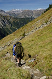 Mountain Backpacking. Backpacking on the mountains of the tour de Mont Blanc, Switzerland Stock Images