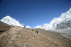 Mountain backpacking in the Himalayas Stock Photos