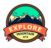 MOUNTAIN BADGES EXPLORE stock illustration