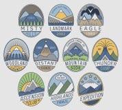 Mountain badges linear 2color Royalty Free Stock Photos