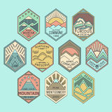 Mountain badges linear 1color. Set of alpinist and mountain climbing outdoor activity  linear color labels.Logotype templates and badges with mountains,peaks Royalty Free Stock Photography