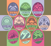 Mountain badges linear 2 mono Stock Images
