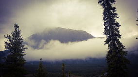 Mountain banff. Mountain forest national park Canada Alberta Banff trees peak clouds morning Royalty Free Stock Photo