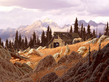 Mountain Barn. Image from an original painting by Larry Jacobsen. / AF-025 Stock Images