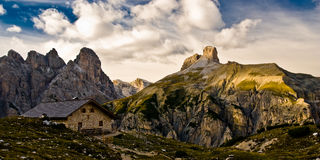 Mountain barrack in dolomite alps Royalty Free Stock Photo