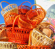 Mountain baskets on the market Royalty Free Stock Image