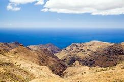 Mountain beautiful hiking landscape, island and ocean Stock Photos