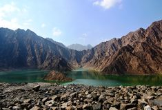 MOUNTAIN LANDSCAPE  AND LAKE,HATTA Royalty Free Stock Photos
