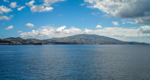 Mountain of Beauty. Port of Ponta Delgada on the Sao Miguel island in the Azores Royalty Free Stock Photo