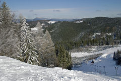 Mountain Beskydy-winter view. Czech mountain Beskydy-winter view from hill Solan Stock Image