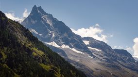 Mountain Besso in Val d`Anniviers, Switzerland. View on the famous peaks of mountain Besso 3667m / 12034ft in the Pennine Alps in the Swiss canton of Valais in stock image