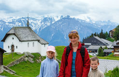 Bettmeralp village summer view (Switzerland) and family. Stock Photography