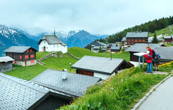 Bettmeralp village summer view (Switzerland) and family. Stock Photos