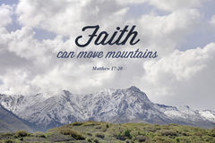 Mountain bible verse of matthew 17:20 Royalty Free Stock Photo