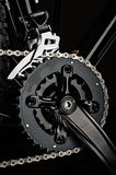 mountain bicycle crankset on dark background royalty free stock photo