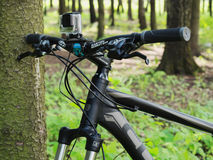 Mountain bicycle by CUBE with GoPro 3+ BE mounted on handlebar Stock Photos