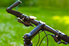 Mountain bicycle handlebars Stock Photo