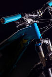 Mountain bicycle photography in studio, bike frame parts, handle bar and brakes Royalty Free Stock Photography