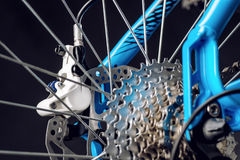 Mountain bicycle photography in studio, bike parts, derailleur Royalty Free Stock Images