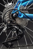 Mountain bicycle photography in studio, bike wheel with disc brakes, bike part Royalty Free Stock Images