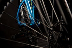 Mountain bicycle photography in studio, bike wheel with disc brakes, bike part, round Stock Photography