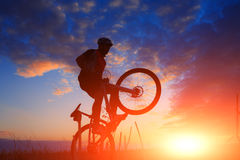 Mountain bicycle rider on the hill Royalty Free Stock Photo