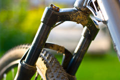 Mountain bicycle suspension fork Royalty Free Stock Photography