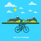 Mountain, Bicycle, tourism, flat style for web, vector Royalty Free Stock Photo