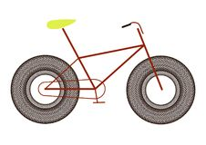Mountain bicycle tuning, bike for men with huge wheels,. Icon Royalty Free Stock Images