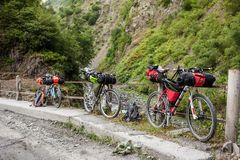Mountain bicycles prepared during distant travel Stock Photos