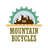 Mountain bicycles travel company logo. Oldstyle vector logo for bicycle travel company. Extreme mountainbiking association label witt gearwheel and chines Royalty Free Stock Photo