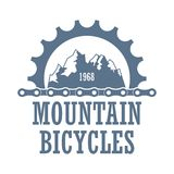 Mountain bicycles travel company logo. Oldstyle vector logo for bicycle travel company. Extreme mountainbiking association label witt gearwheel and chines Stock Images