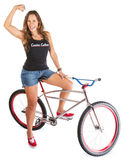 Mountain Bicyclist Flexing Muscle Stock Photos