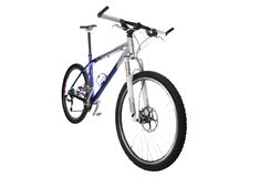 Mountain bike. The blue bicycle. Isolated on a white background stock photo