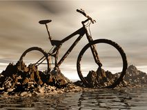 Mountain   bike. Dirt Mountain  bike over the rock background Royalty Free Stock Photography