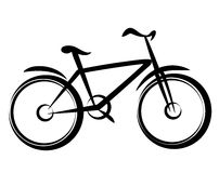 Mountain bike. Bicycle silhouette in simple black lines Royalty Free Stock Photography