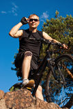 Mountain bike. Young man on a mountain bike Royalty Free Stock Image