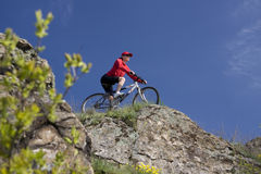 Mountain bike. The young woman on a bicycle Royalty Free Stock Image