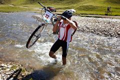 Mountain bike adventure competition Stock Photo