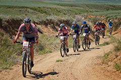 Mountain bike adventure competition Royalty Free Stock Photos