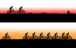 Mountain bike banner. Mountain bike illustration banner, Variable in AI file Stock Photography