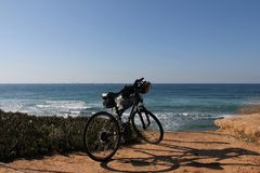Mountain bike on the beach Royalty Free Stock Photography