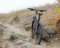 Mountain Bike on the Beautiful Autumn Rocky Trail Stock Image